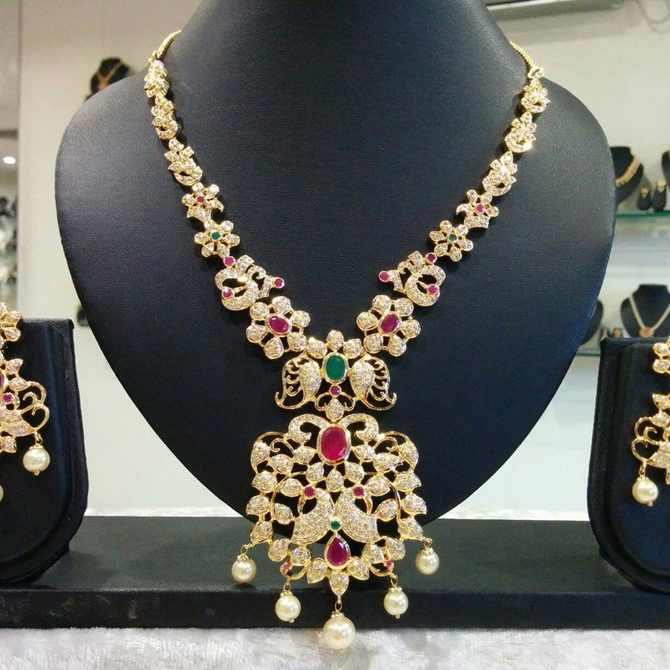 Latest Cz Neckpiece Buy Online Jewellery Elegant Fashion Wear