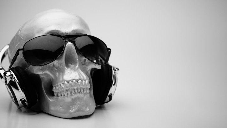Skull Headphone Sunglasses 4k Wallpaper 3840x2400 Skull Headphones Skull Music Headphones