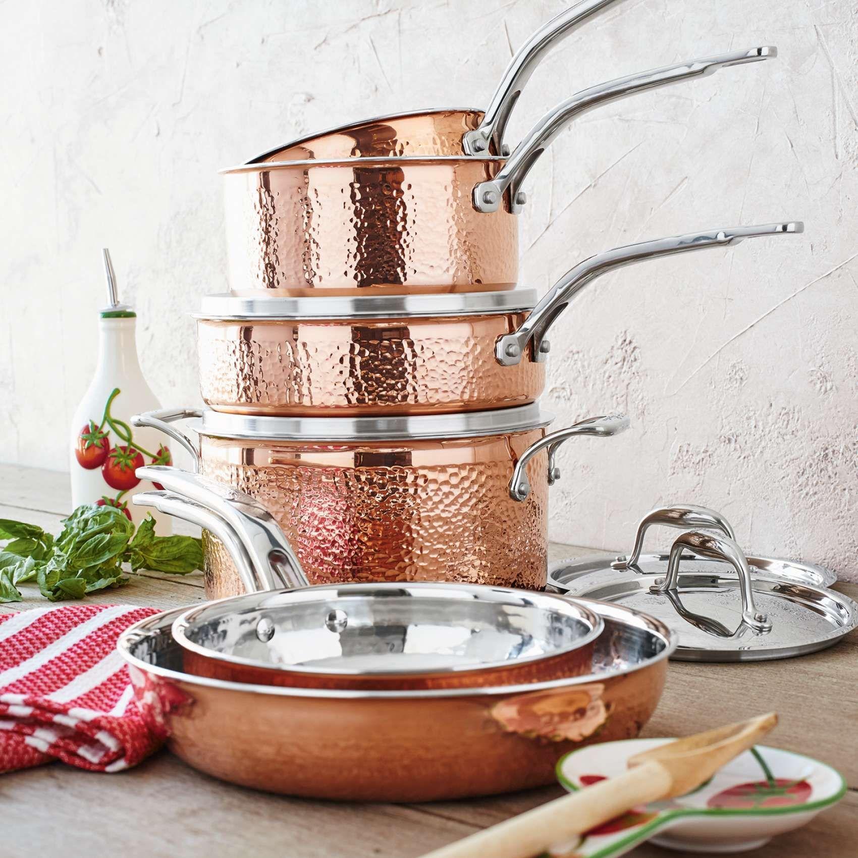 Lagostina Martellata Hammered Copper 10 Piece Set Sur La Table Copper Cookware Set Copper Kitchen Accessories Copper Cookware