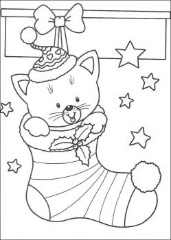 christmas cat in stocking coloring page