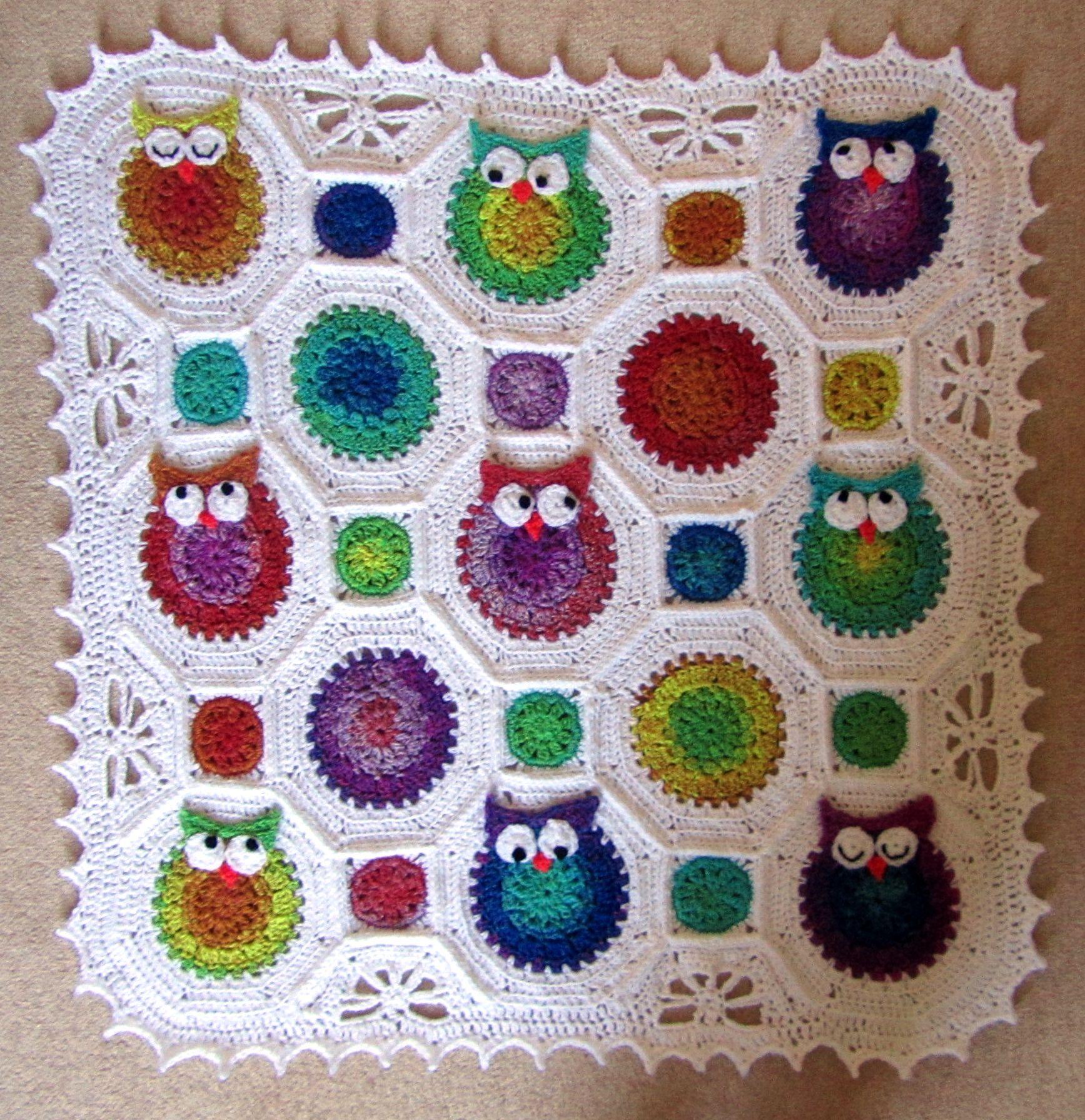 crochet owl blanket | Hekel Idees | Pinterest | Manta y Infantiles