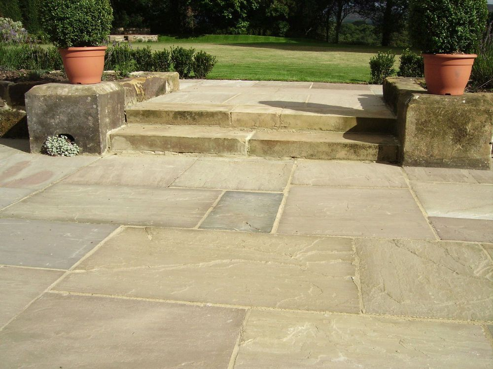 PREMIUM Natural Indian Sandstone Patio Paving Slabs Flags Pavers In Mixed  Sizes