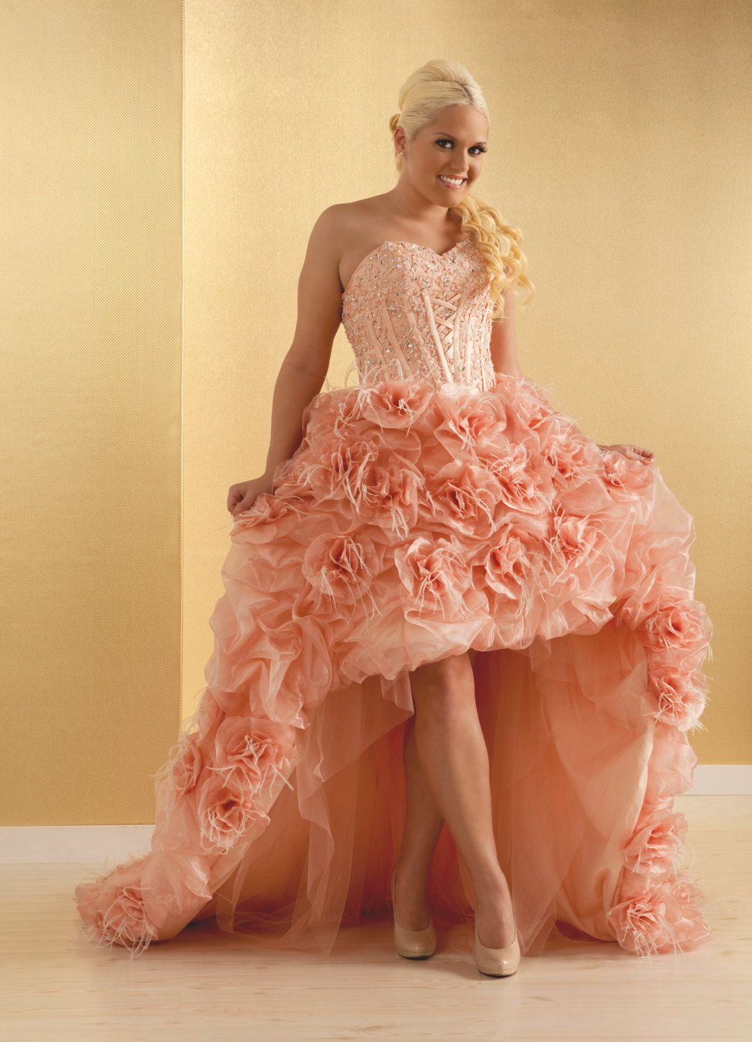 Plus size strapless wedding dress high low, feathers, organza pink ...