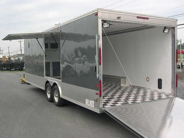 Carmate 8 5 X 26 Enclosed Car Trailer With Awning Door Enclosed Car Trailer Car Trailer Trailer Awning