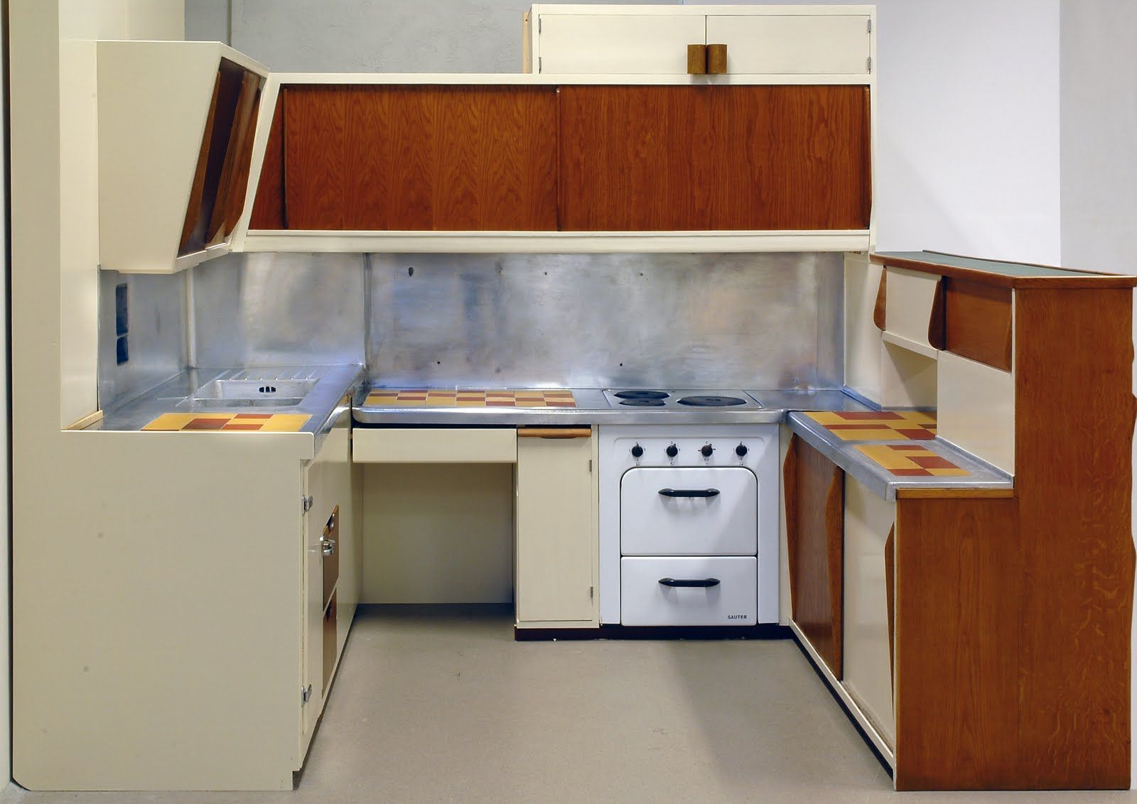 unite d'habitation open kitchen plan with built in ice box ...