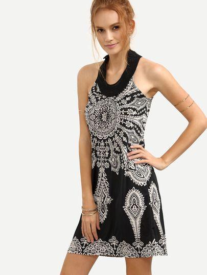 Keyhole Halter Neck Vintage Print Dress - Black