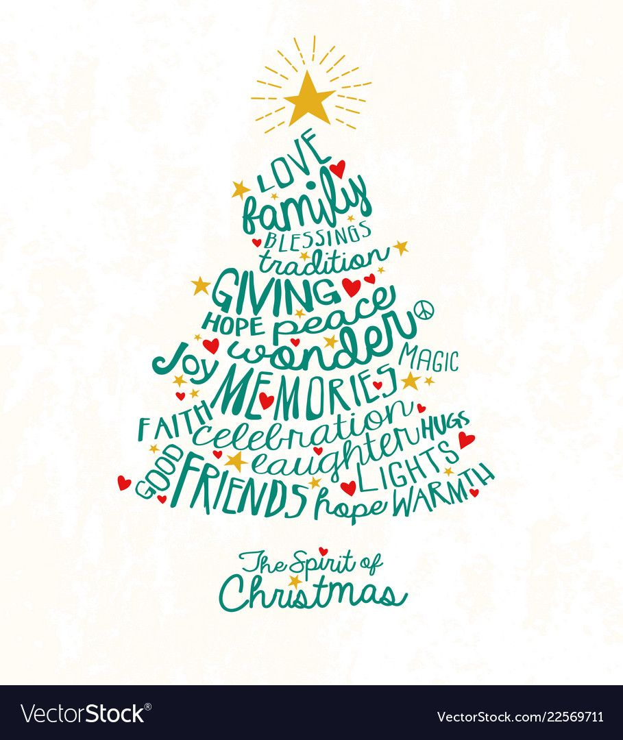 Handwritten Words In Christmas Tree Shape Vector Image On Vectorstock Word Cloud Holiday Greeting Cards Word Cloud Design