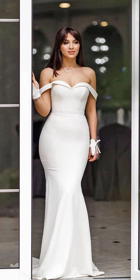 Romantic off the shoulder wedding dresses,white wedding dresses,2019 prom dress