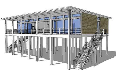 Plan 44073td Modern Piling Loft Style Beach Home Plan House On