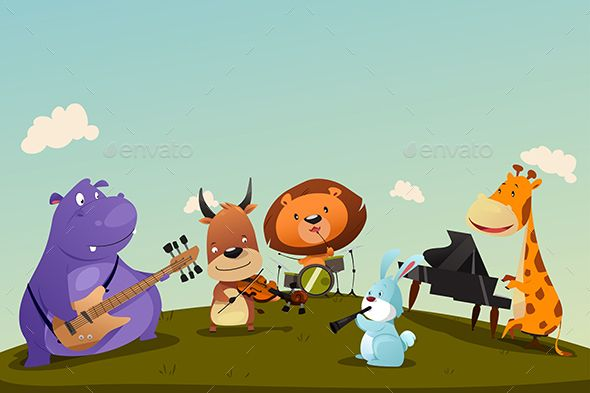 Animals Playing Music Instrument In A Band Music Illustration Cartoons Band Music Cartoon