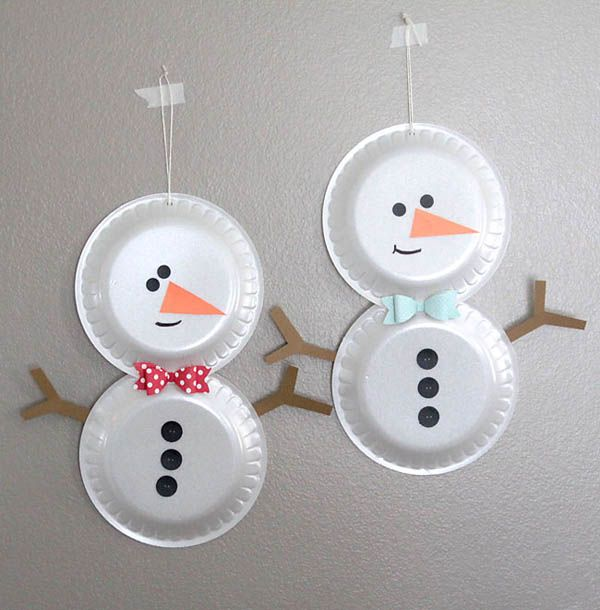 Awesome Simple Christmas Craft Ideas For Kids Part - 8: Simple Foam Plate Snowmen {easy Holiday Craft For Kids} - Itu0027s Always Autumn