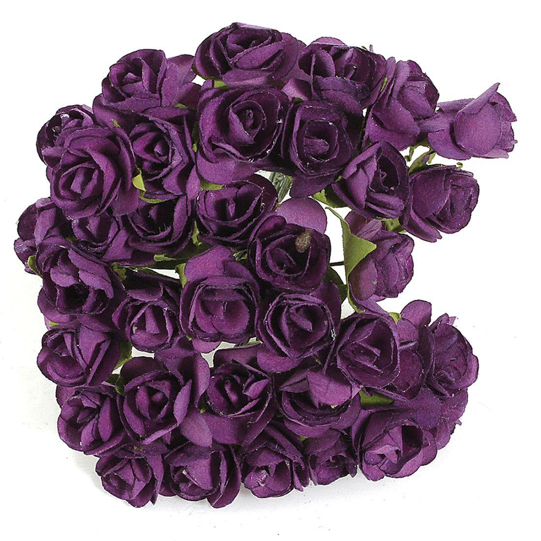 144pcs Mini Petite Paper Artificial Rose Buds Flowers DIY Craft Wedding Decor Home, Purple #Affiliate