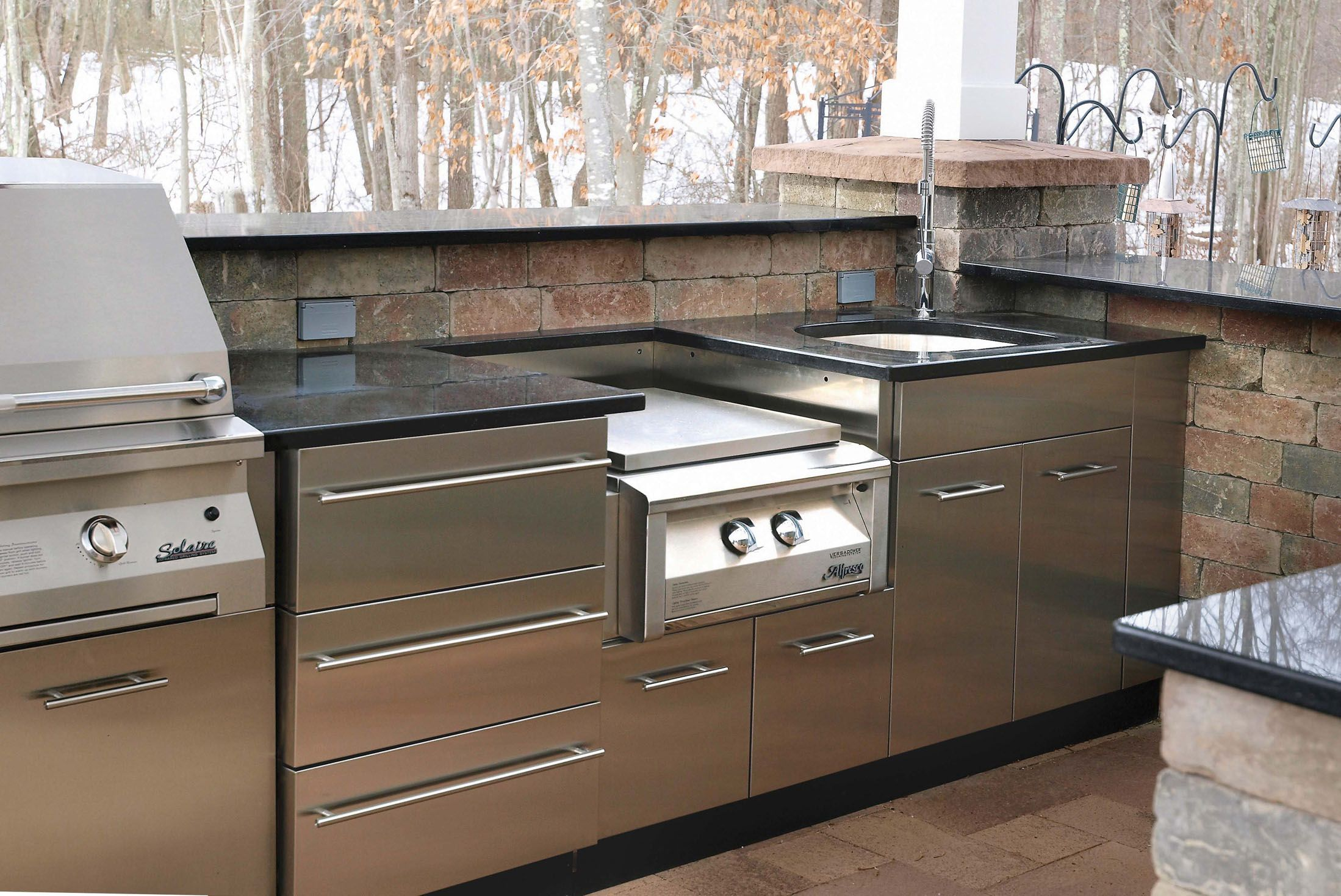 Outdoor Stainless Kitchen In Winter In Ct From Stainless Steel