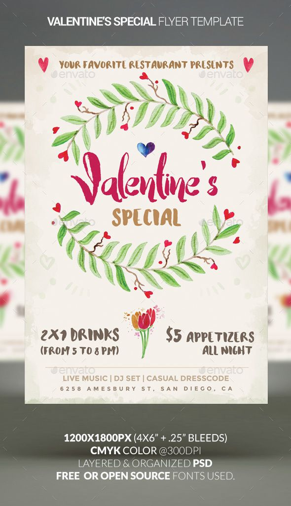 valentine s special restaurant special flyer template psd