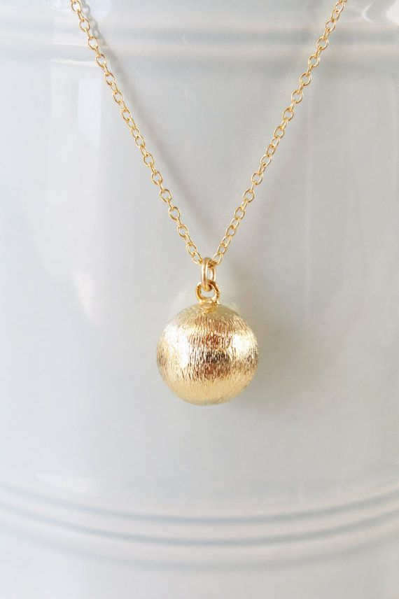 Gold Ball Necklace Gold Charm Ball Pendant Round By