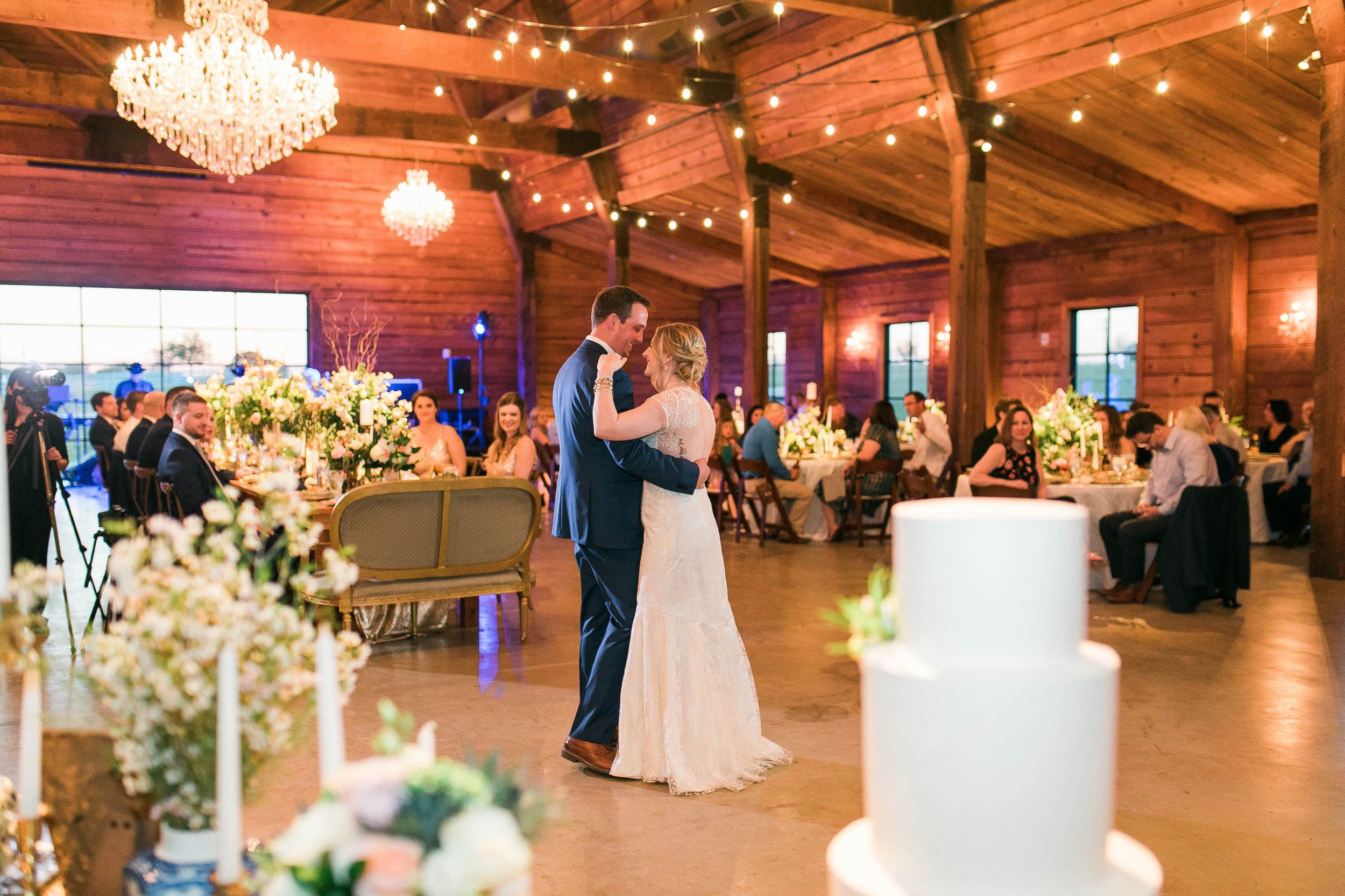 First Dance Reception With Settee Table Numbers Brass Candles Mismatched China Romantic Barn Wedding By R Blue And White Vase Flower Cart Barn Wedding