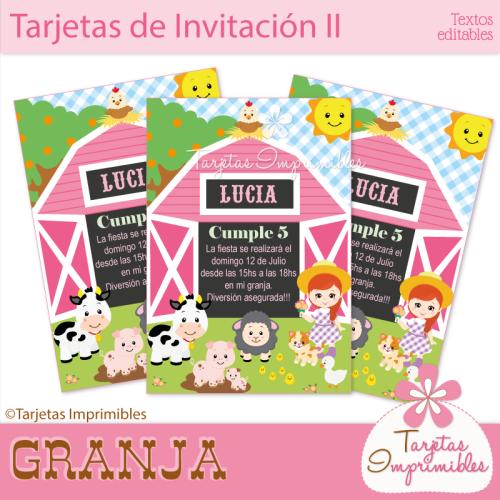 Tarjetas De Invitacion Granero Cumpleaños Granja