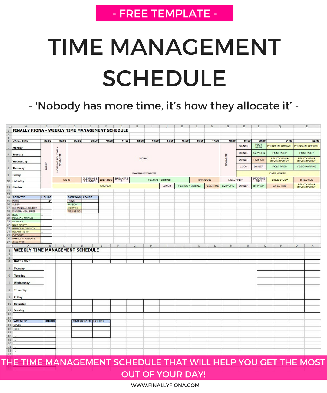 My Time Management Schedule Amp How I Get The Most Out Of Each Day Free Template
