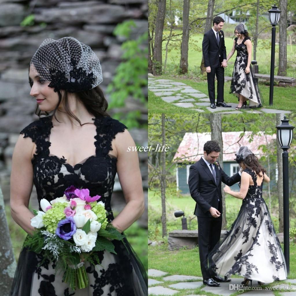 Modest black and white wedding dresses short front long back tulle