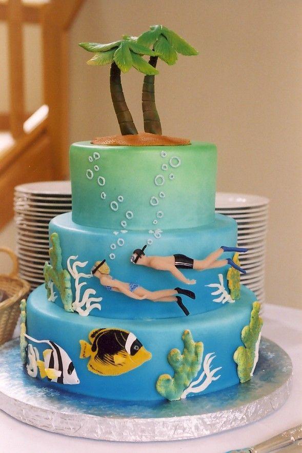 cake design lovers beach lover or snorkel lover cake  Cake, Swimming cake, Cake design