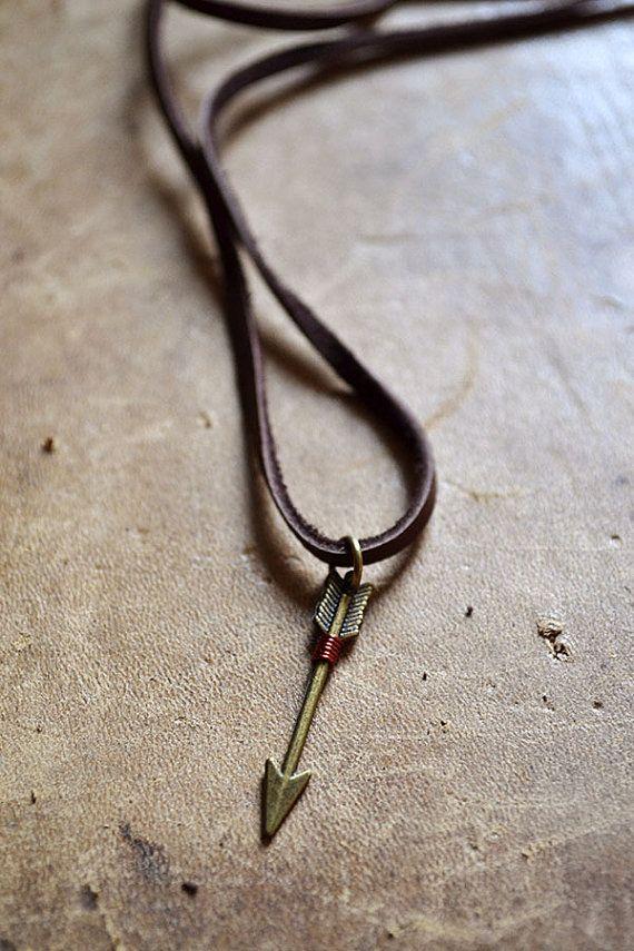Lucky Arrow Necklace Leather Arrow Necklace Follow