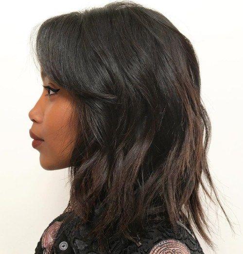 midlength black shaggy haircut  hair styles thick hair