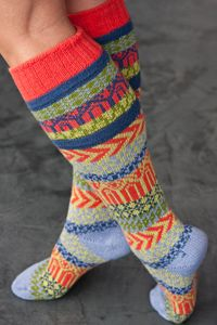 Sunrise Fairisle Knee Highs - light blue