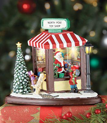 Lighted Santa\u0027s Gift Shop Tabletop Figurine Fairy Garden/Miniature