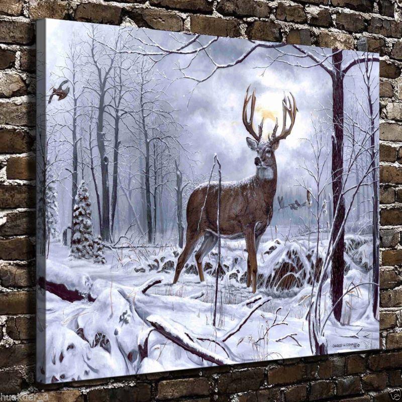 Animal Snow deer printings HD Print on Canvas Home Decor room Wall Art Picture