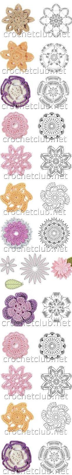 Crochet flowers with diagrams | crochet | Pinterest | Patrones, Flor ...