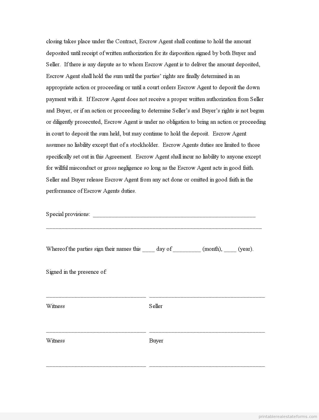 Printable Sample Escrow Agreement Type 1 Form Generic Simple