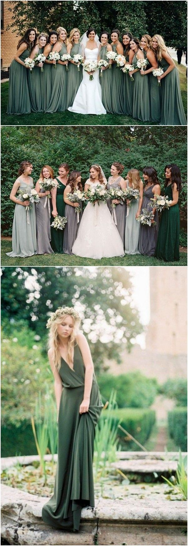 trending shades of green bridesmaid dresses