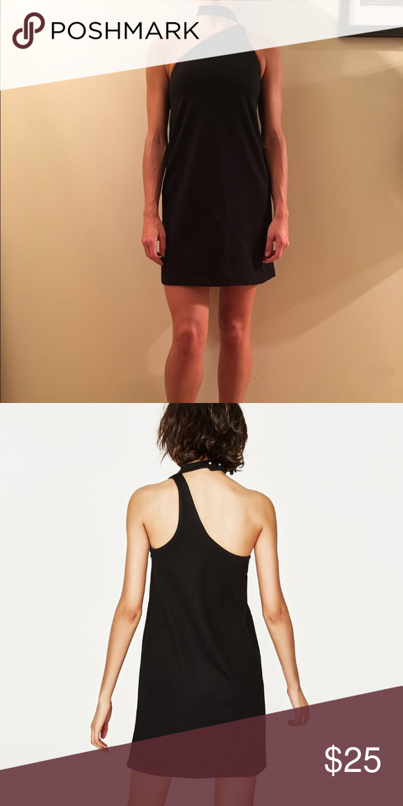 5a5f02dd NWT Zara Straight-Cut Dress with Choker Brand new, never been worn Zara  one-shoulder dress with pearl-like buttons on collar. Zara Dresses Mini