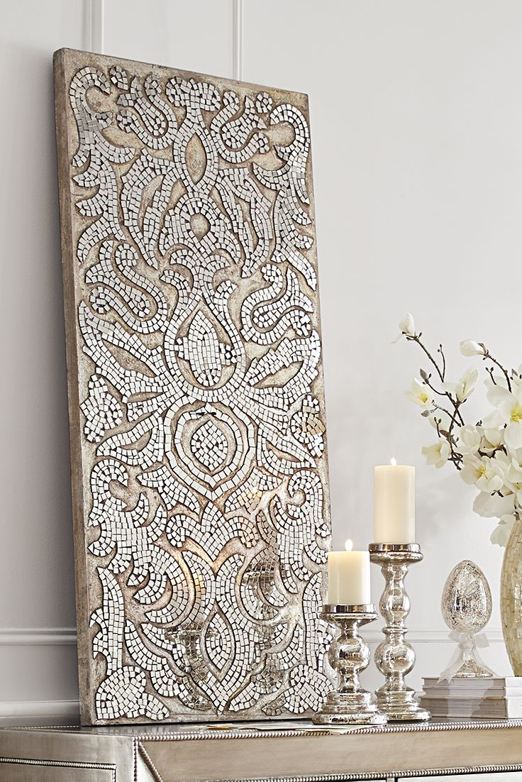 Champagne mirrored mosaic damask panel damasks elegant for How to buy art for your home