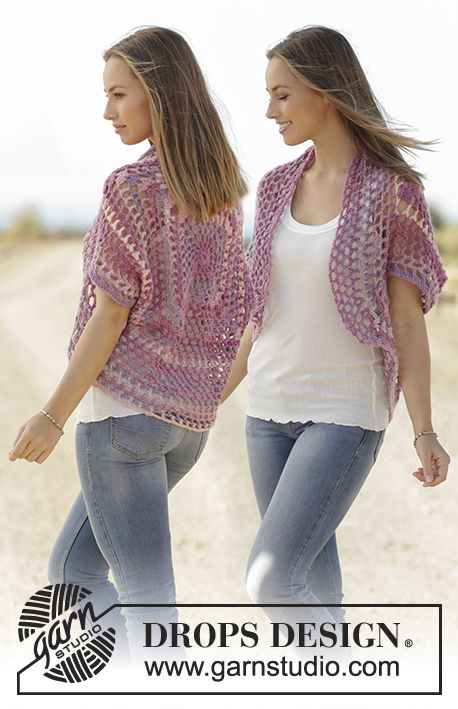 Shoulder piece with crochet square, crochet in DROPS Big Delight ...