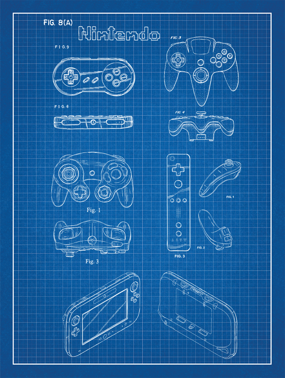Nintendo controllers patent poster screen print decoration technical nintendo controllers patent print on blue graph paper background malvernweather Choice Image