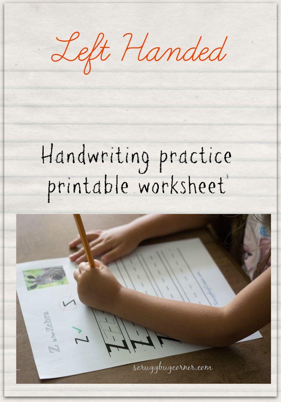 Left handed learning: Letter practice Worksheet Z | Scruggbug Corner