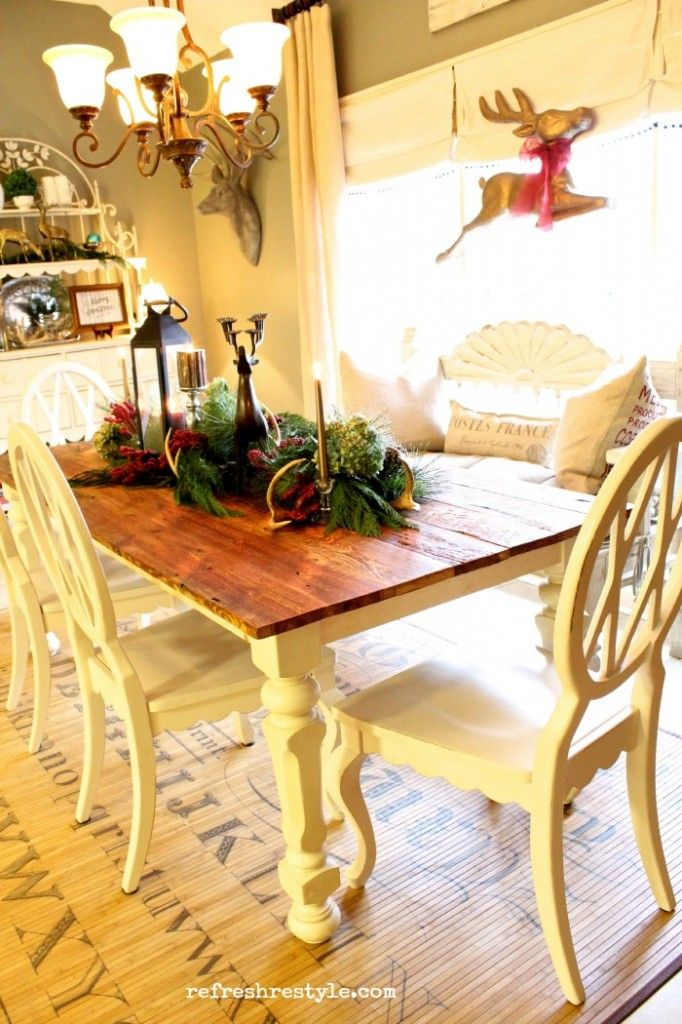 Farm table dressed for christmas table dressing farming for Dressing a dining room table