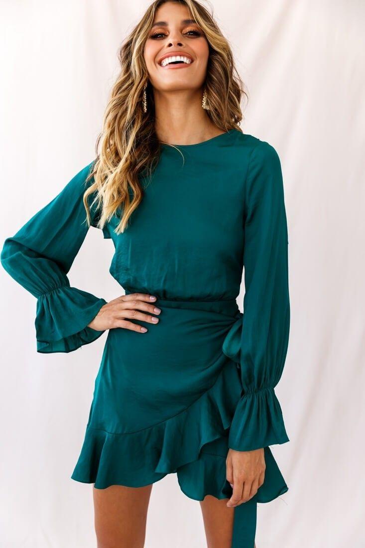 Darla Long Sleeve Satin Dress Forest Green Green Long Sleeve Dress Green Dress Outfit Casual Dresses [ 1100 x 733 Pixel ]