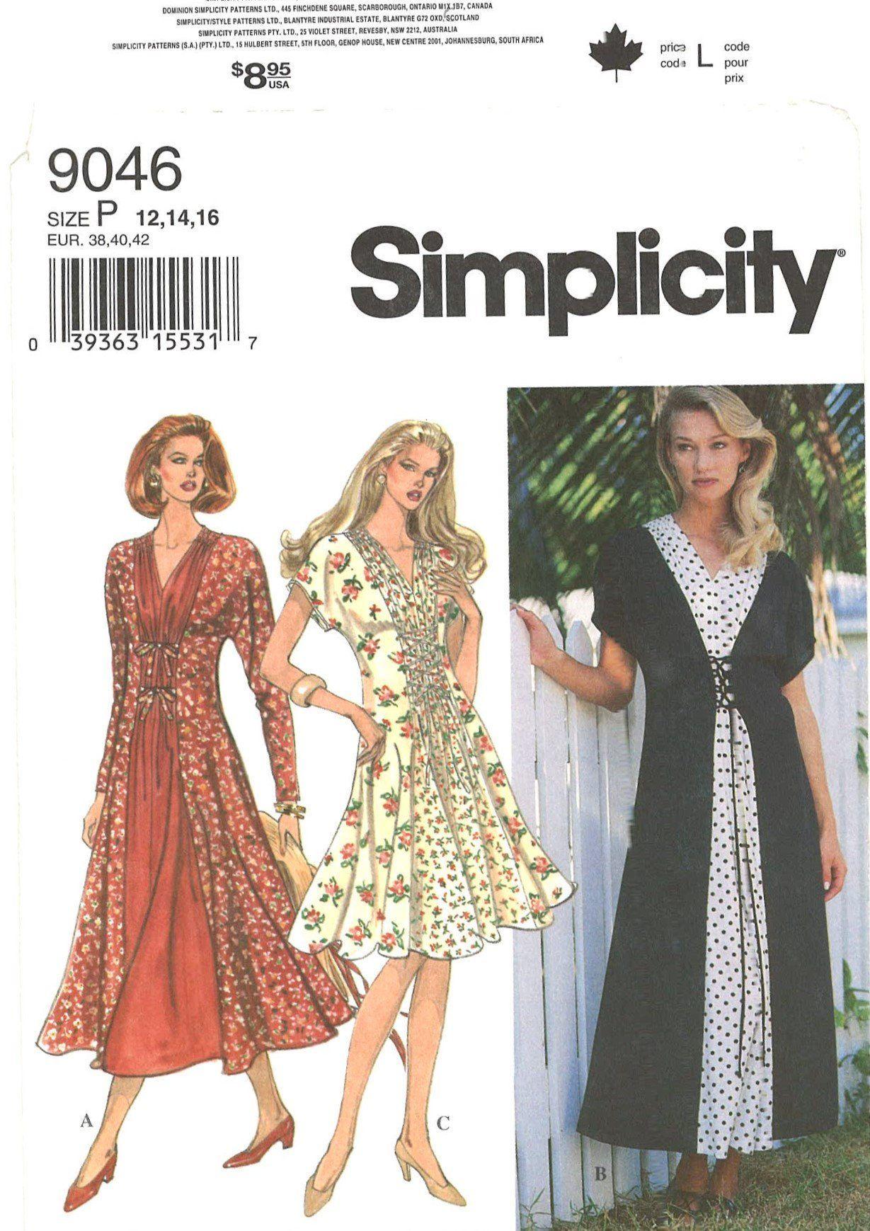 Simplicity 9046 Misses Princess Seam Dress Sewing Pattern