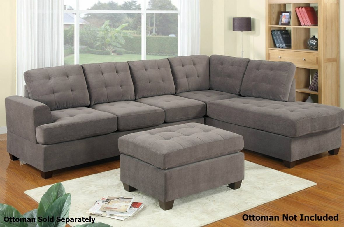 Poundex Gustav F7137 Grey Fabric Sectional Sofa Sectional Sofa Couch Grey Sectional Sofa Modern Sectional Sofa With Chaise