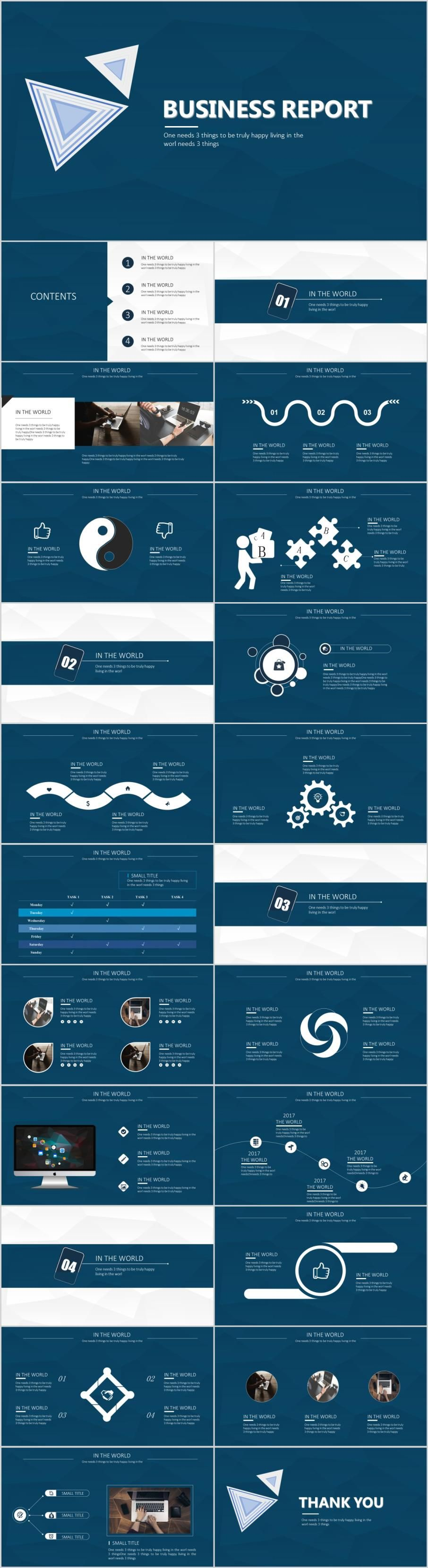 23 mazarine business report PowerPoint templatesThe highest quality PowerPoint Templates and Keynote Templates download