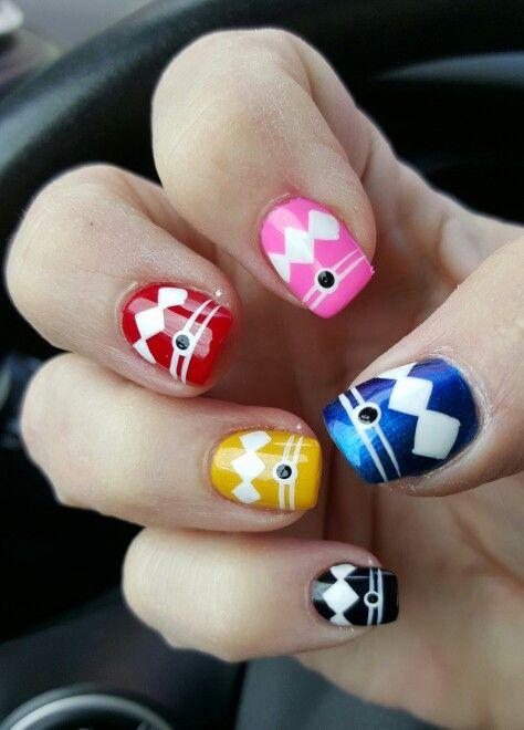 Power Rangers Nails #nailpolish #powerrangers #naildesign #geeknails ...