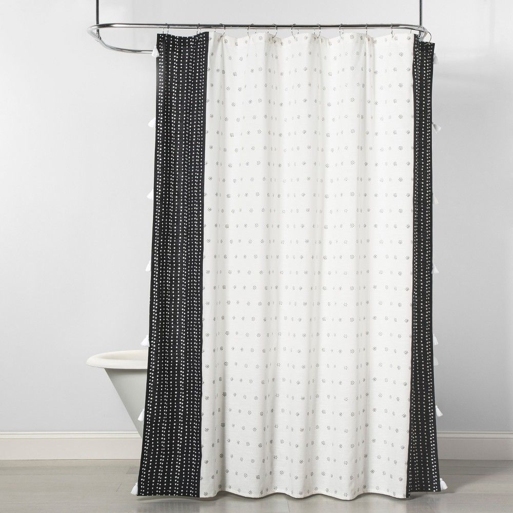 Dots Floral Shower Curtain Black Cream Opalhouse Floral