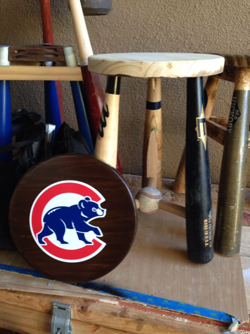 This Was One Of My Classic Three Legged Stools Made Out Of Broke Baseball Bats A Cubs Stool For A Goo Baseball Furniture Sports Themed Furniture Baseball Room