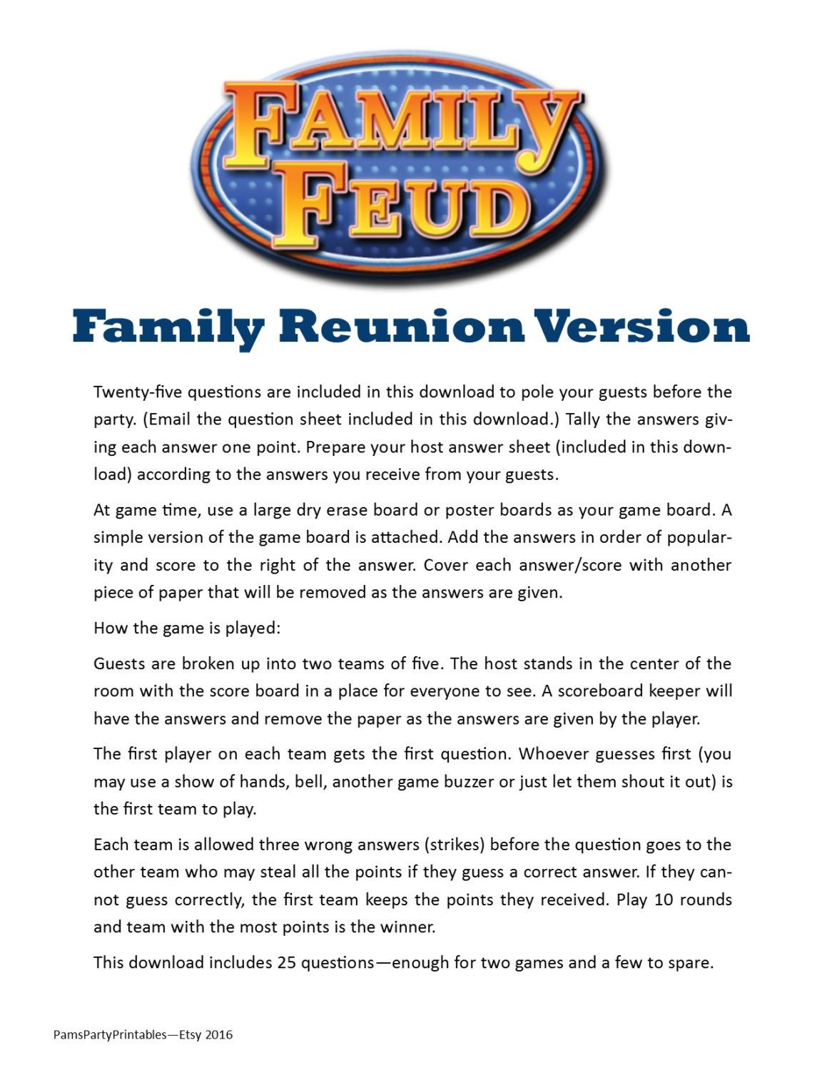 Family Reunion Feud Printable Picnic Fun Group By Pamspartyprintables On Etsy