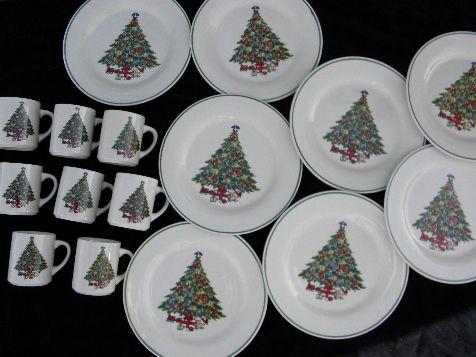 vintage Christmas tree china set for 8 | Vintage christmas ...
