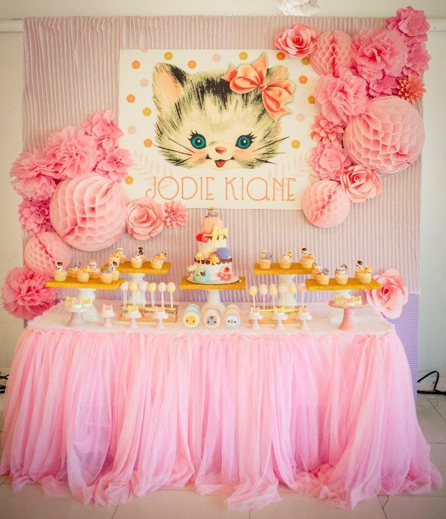 cat themed birthday party Jodie's Vintage Kitty Cat Themed Party – 1st Birthday | PARTY  cat themed birthday party