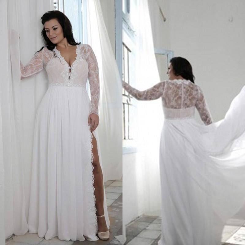 plus size wedding dresses with split sheath plunging v neck illusion lace long sleeves bridal gowns