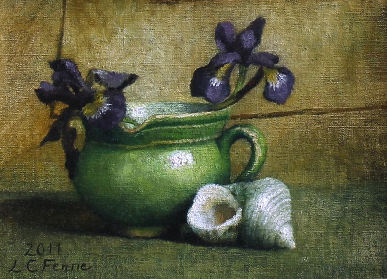 "Louise Fenne, ""Irises"" - 11x8, Oil on canvas on panel--at Principle Gallery"
